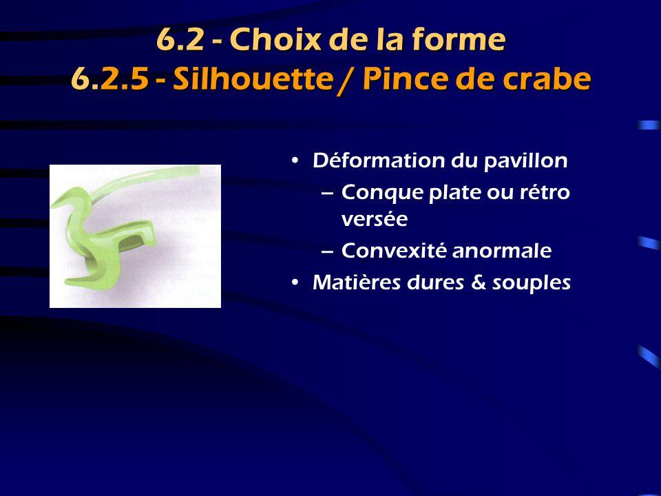 6.2 - Choix de la forme 6.2.5 - Silhouette / Pince de crabe