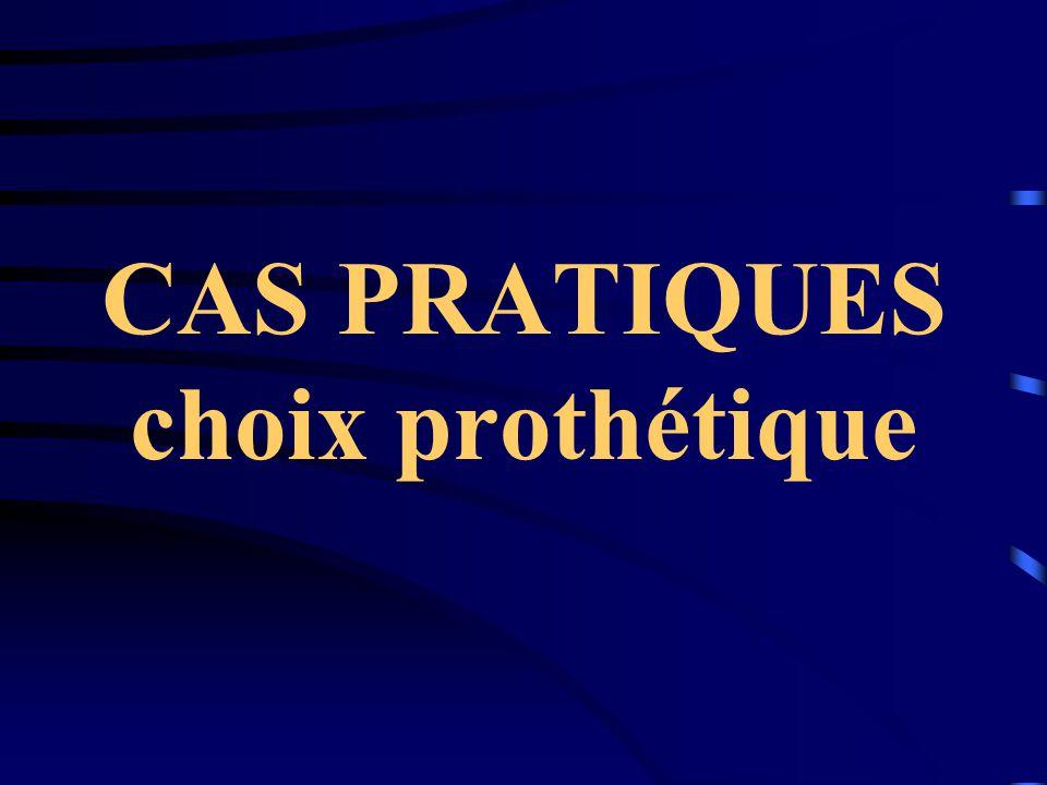 CAS PRATIQUES choix prothétique