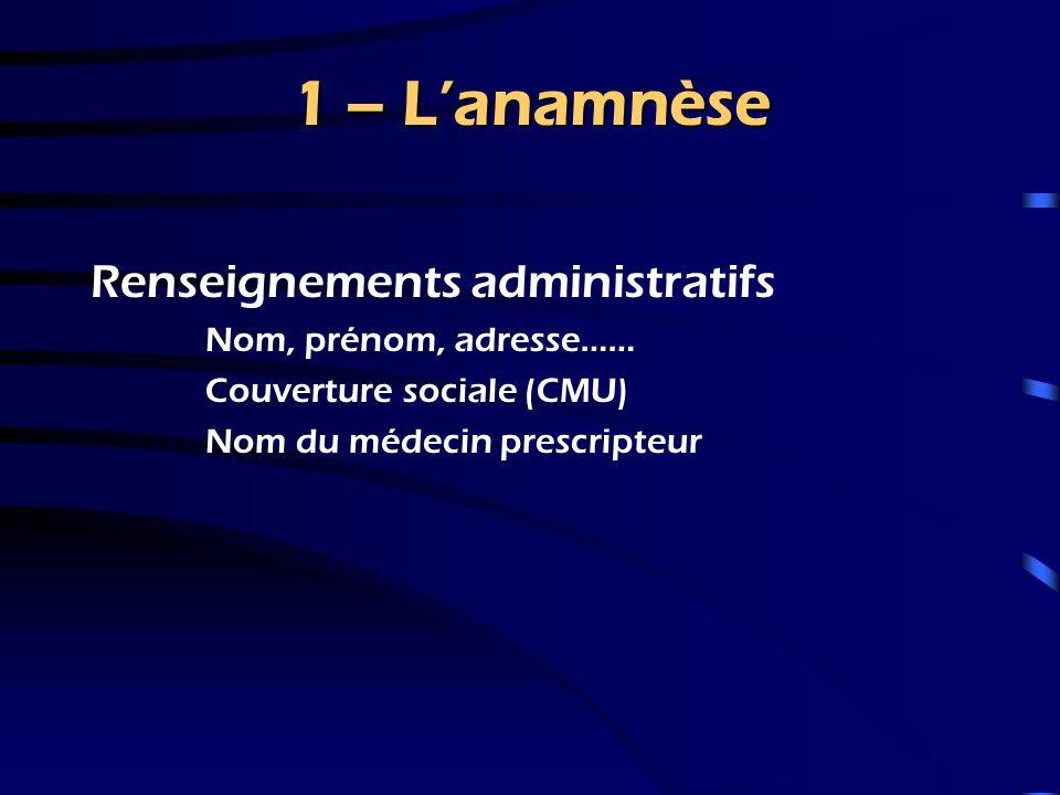 1 – L'anamnèse Renseignements administratifs Nom, prénom, adresse……