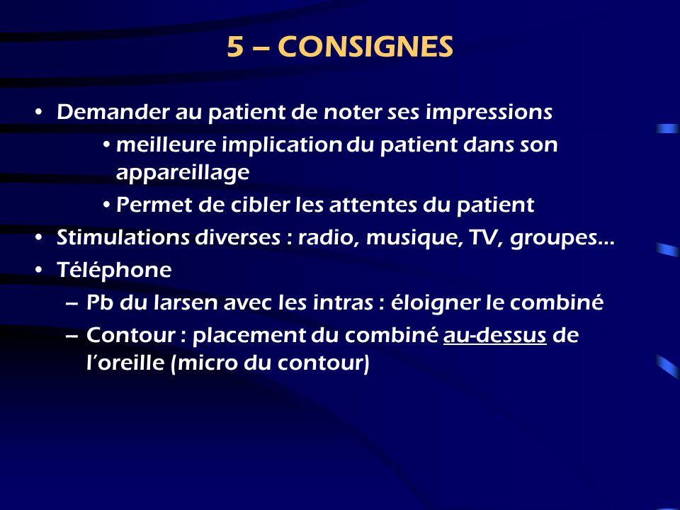 5 – CONSIGNES Demander au patient de noter ses impressions
