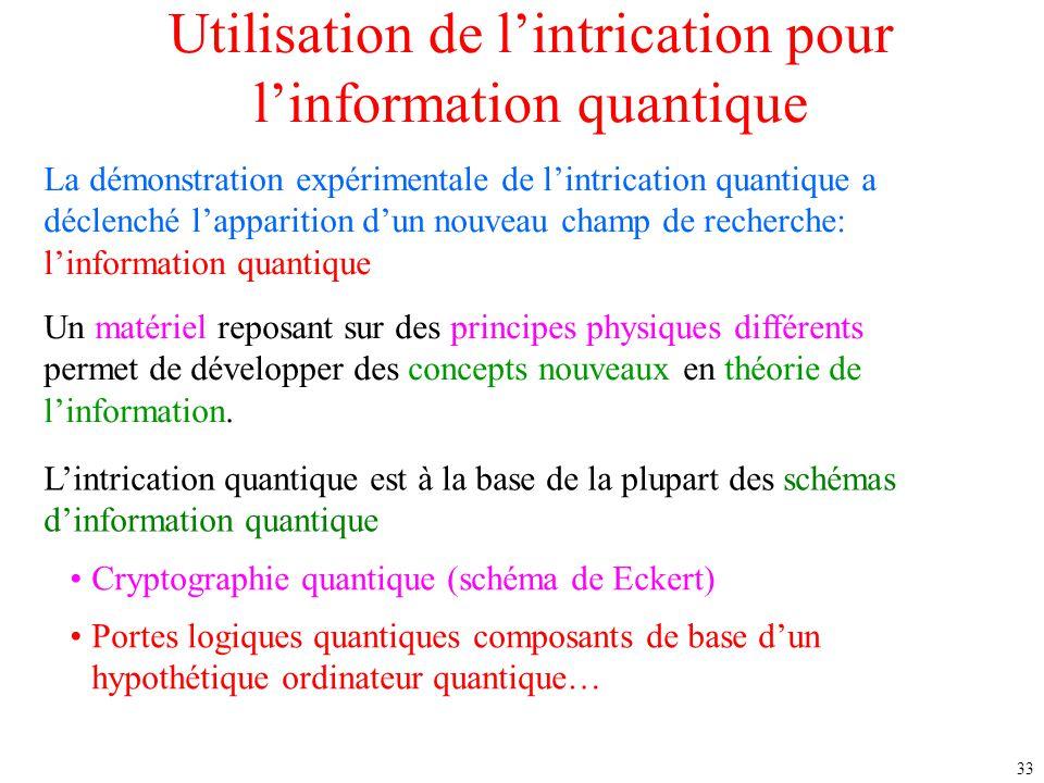 Utilisation de l'intrication pour l'information quantique