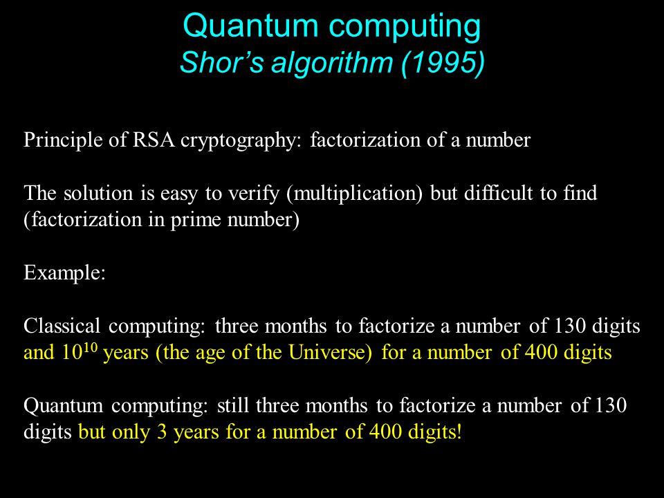 Quantum computing Shor's algorithm (1995)