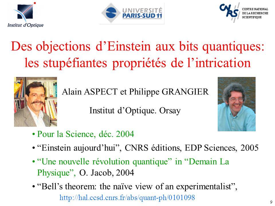 3/31/2017 Des objections d'Einstein aux bits quantiques: les stupéfiantes propriétés de l'intrication.