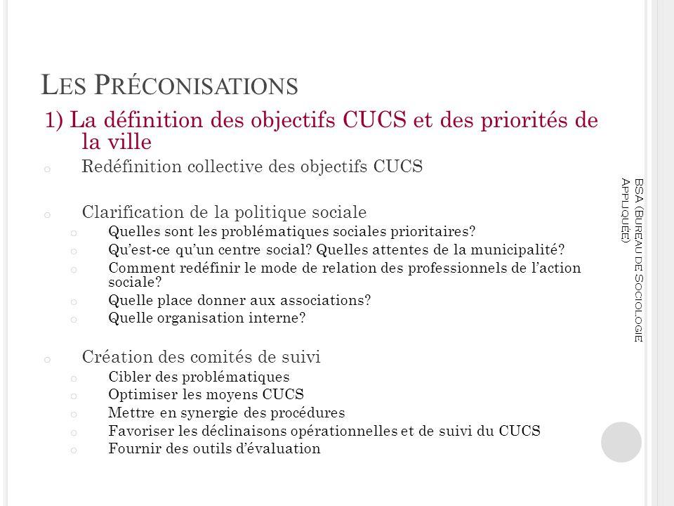 Les Préconisations 1) La définition des objectifs CUCS et des priorités de la ville. Redéfinition collective des objectifs CUCS.