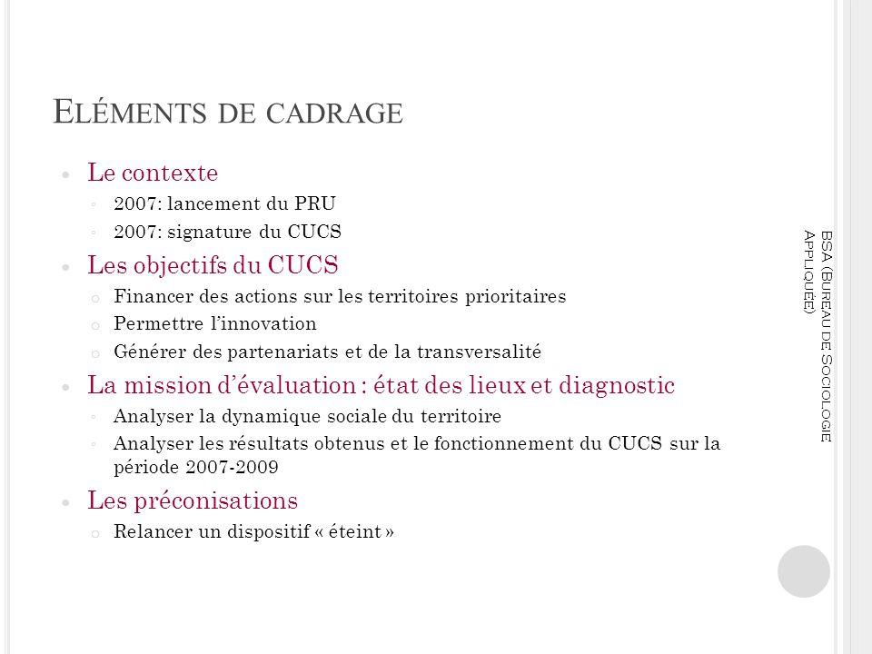 Eléments de cadrage Le contexte Les objectifs du CUCS