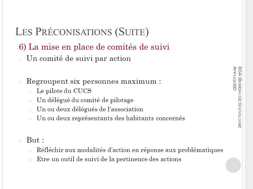Les Préconisations (Suite)