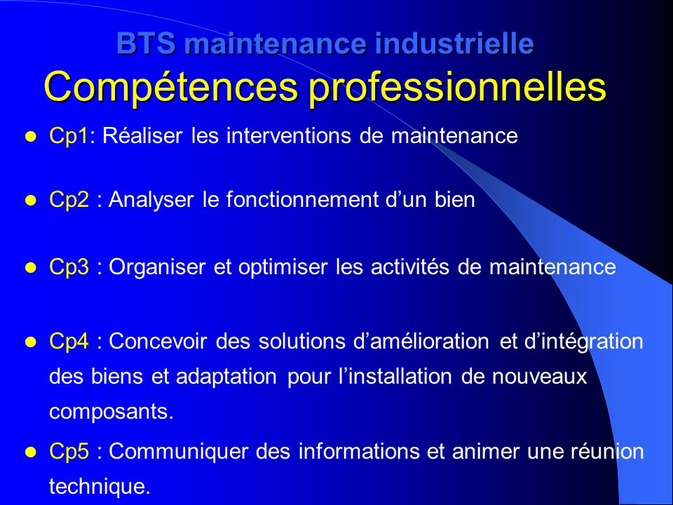 BTS maintenance industrielle Compétences professionnelles