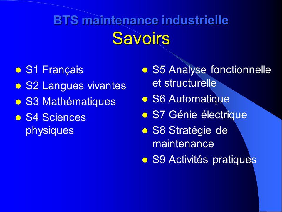 BTS maintenance industrielle Savoirs