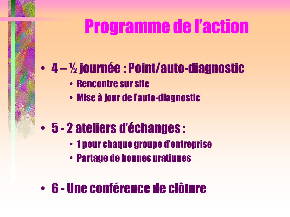Programme de l'action 4 – ½ journée : Point/auto-diagnostic
