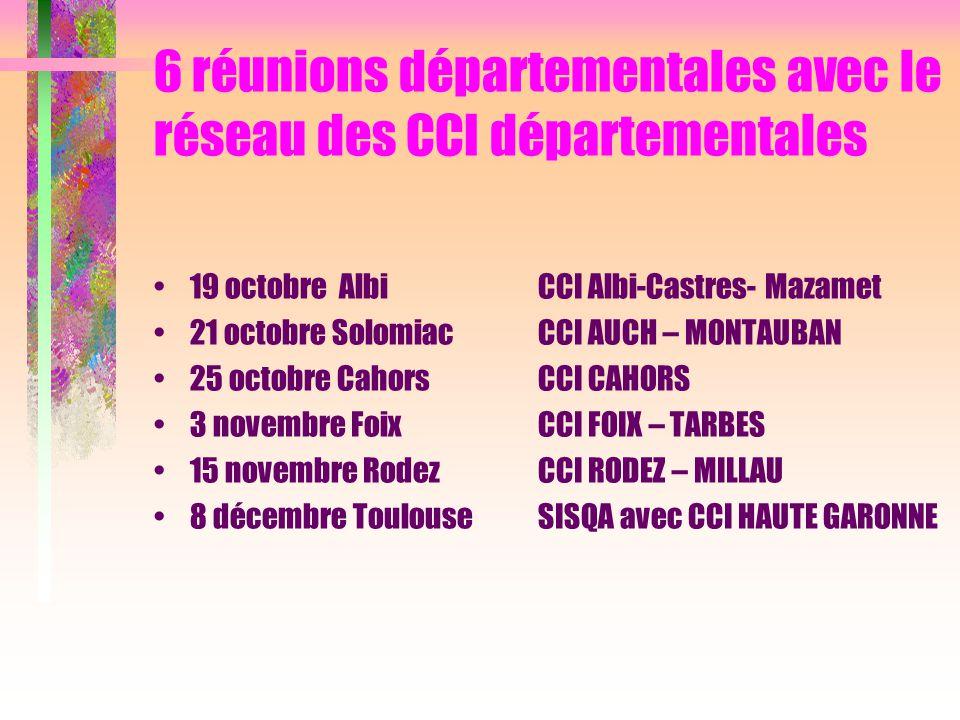 6 réunions départementales avec le réseau des CCI départementales