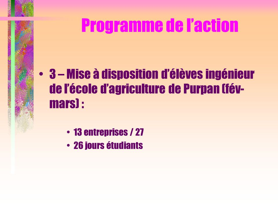 Programme de l'action 3 – Mise à disposition d'élèves ingénieur de l'école d'agriculture de Purpan (fév-mars) :