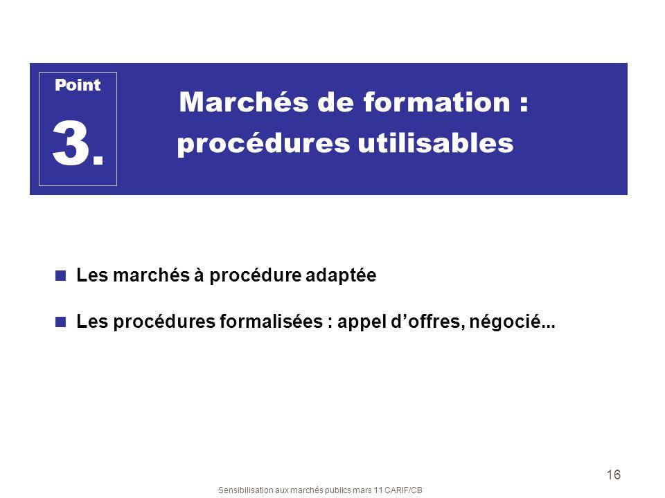 3. Marchés de formation : procédures utilisables