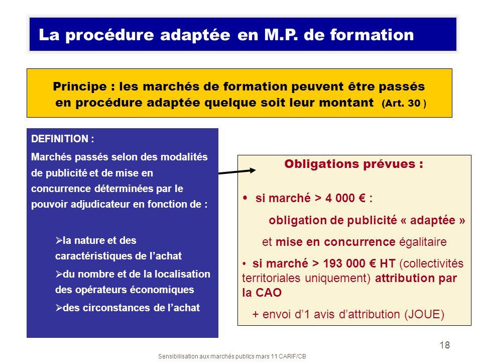 La procédure adaptée en M.P. de formation