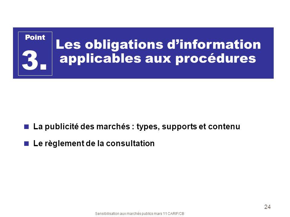 3. applicables aux procédures Les obligations d'information