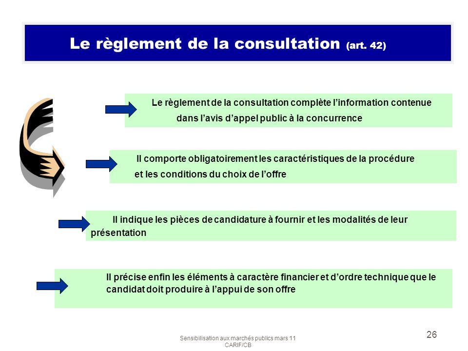 Le règlement de la consultation (art. 42)