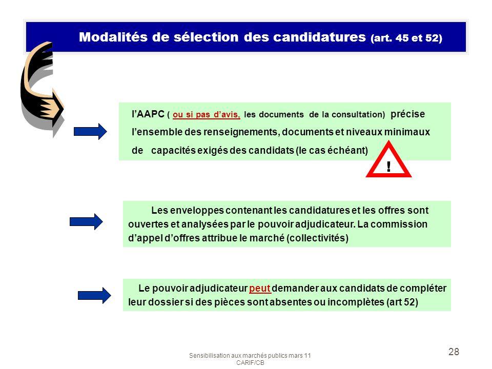 Modalités de sélection des candidatures (art. 45 et 52)