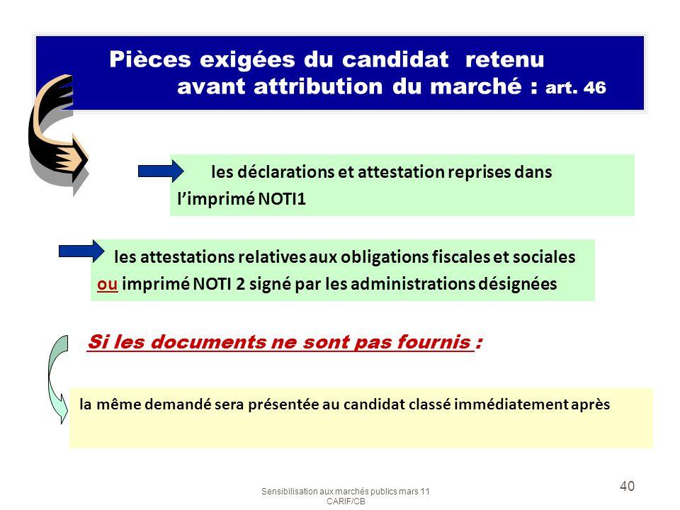 Sensibilisation aux marchés publics mars 11 CARIF/CB