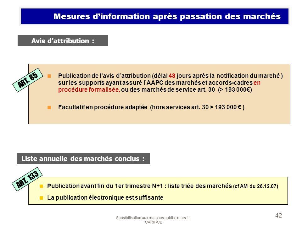 Mesures d'information après passation des marchés