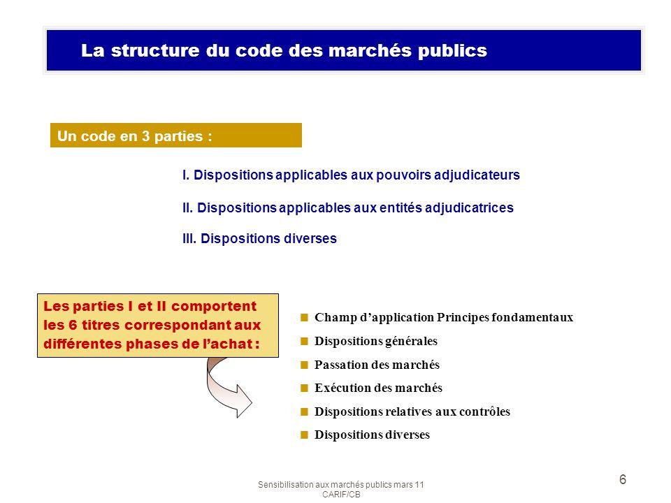 La structure du code des marchés publics