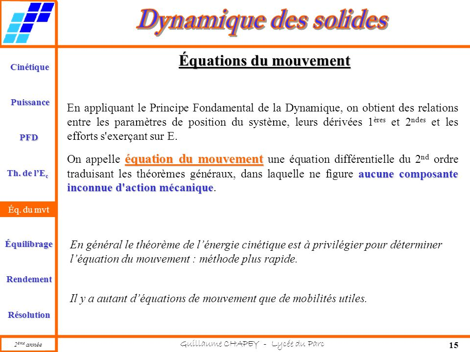 Équations du mouvement