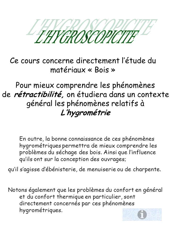 L HYGROSCOPICITE Ce cours concerne directement l'étude du