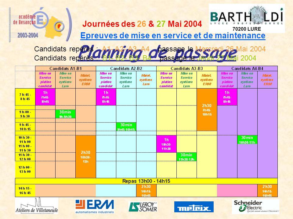 Planning de passage Journées des 26 & 27 Mai 2004