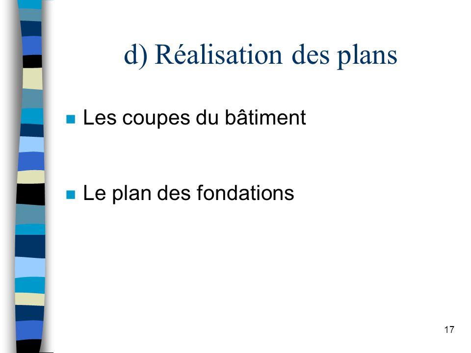 d) Réalisation des plans
