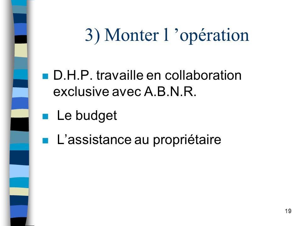 3) Monter l 'opération D.H.P. travaille en collaboration exclusive avec A.B.N.R.