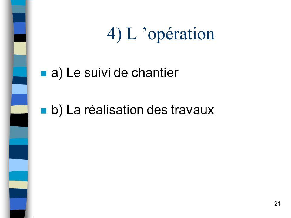 4) L 'opération a) Le suivi de chantier b) La réalisation des travaux