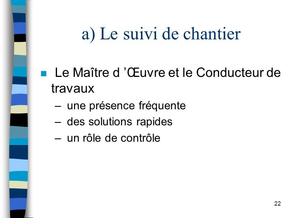 a) Le suivi de chantier Le Maître d 'Œuvre et le Conducteur de travaux