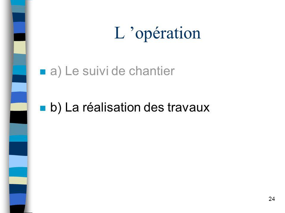 L 'opération a) Le suivi de chantier b) La réalisation des travaux