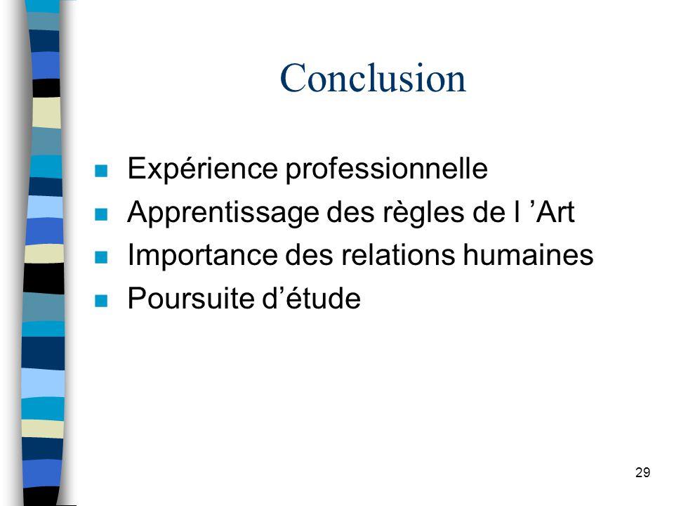Conclusion Expérience professionnelle