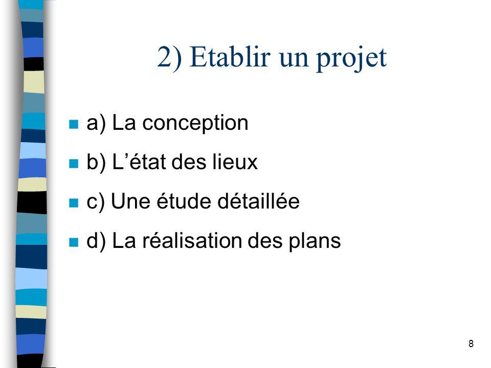 2) Etablir un projet a) La conception b) L'état des lieux