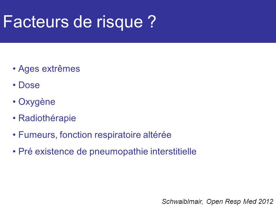 Facteurs de risque Ages extrêmes Dose Oxygène Radiothérapie