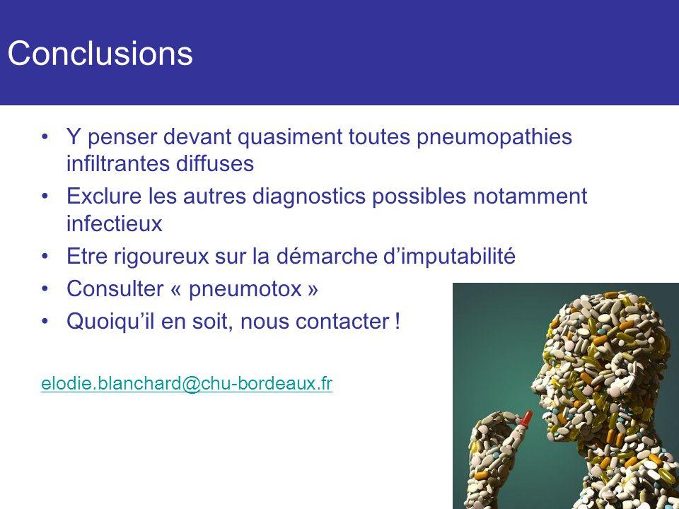 Conclusions Y penser devant quasiment toutes pneumopathies infiltrantes diffuses. Exclure les autres diagnostics possibles notamment infectieux.