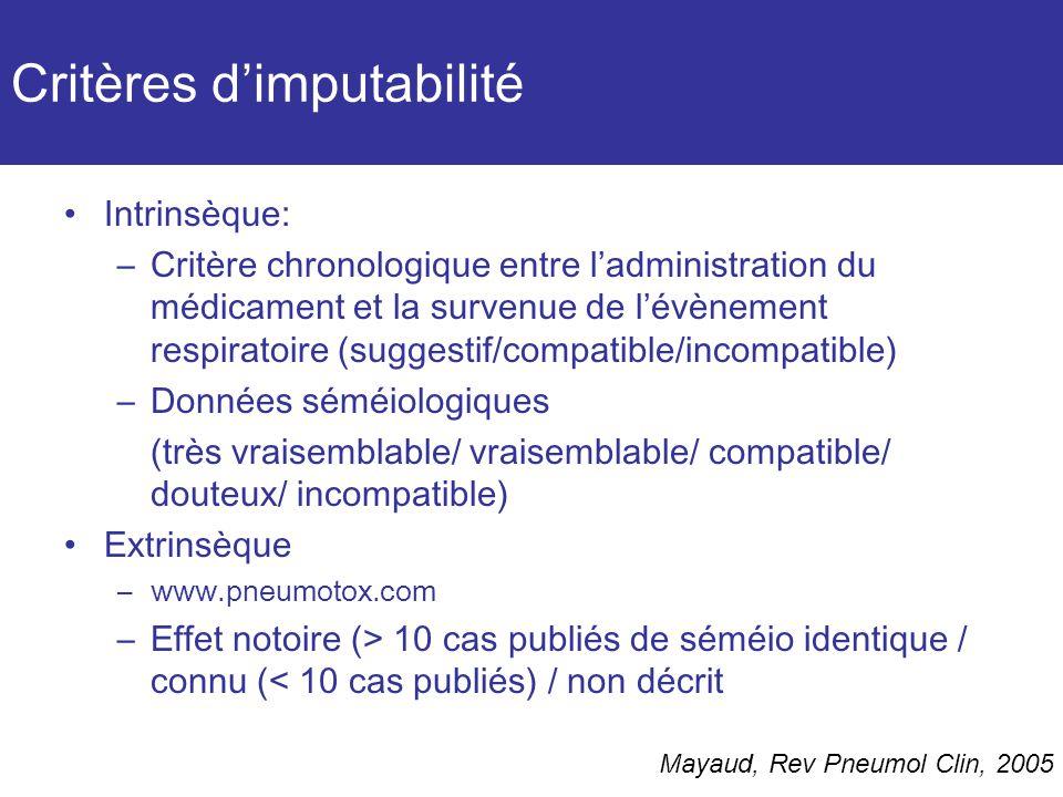 Critères d'imputabilité