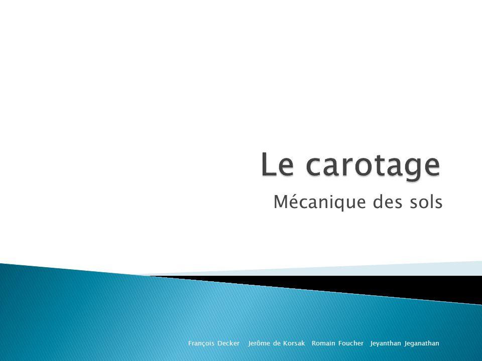 Le carotage Mécanique des sols