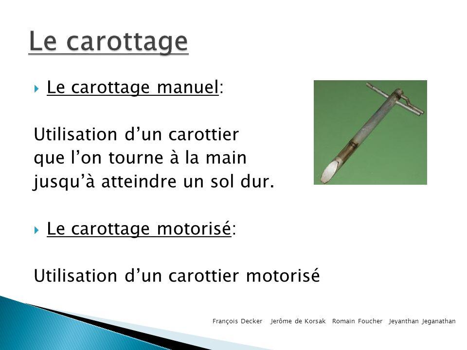 Le carottage Le carottage manuel: Utilisation d'un carottier
