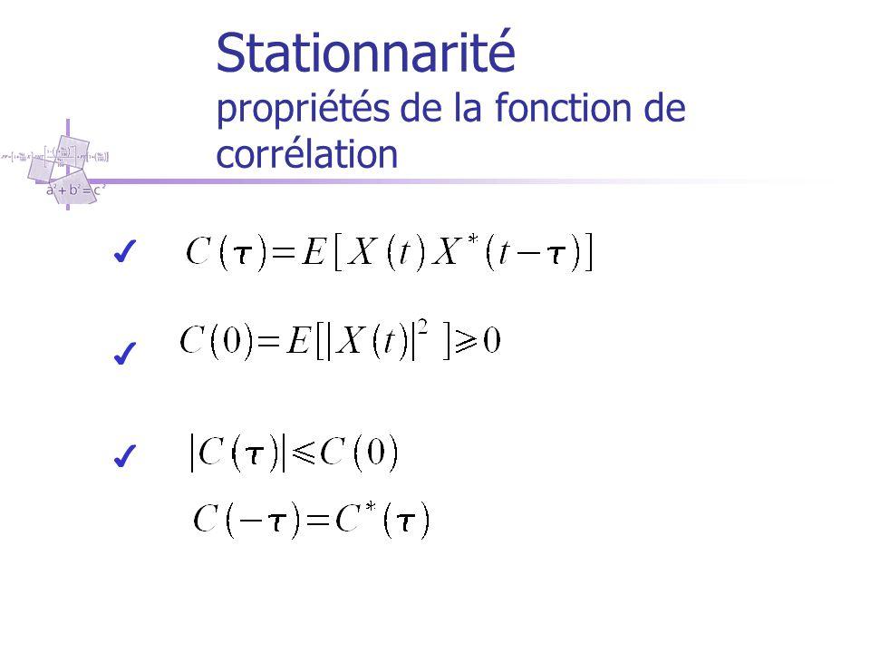 Stationnarité propriétés de la fonction de corrélation