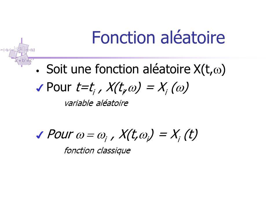 Fonction aléatoire Soit une fonction aléatoire X(t,)