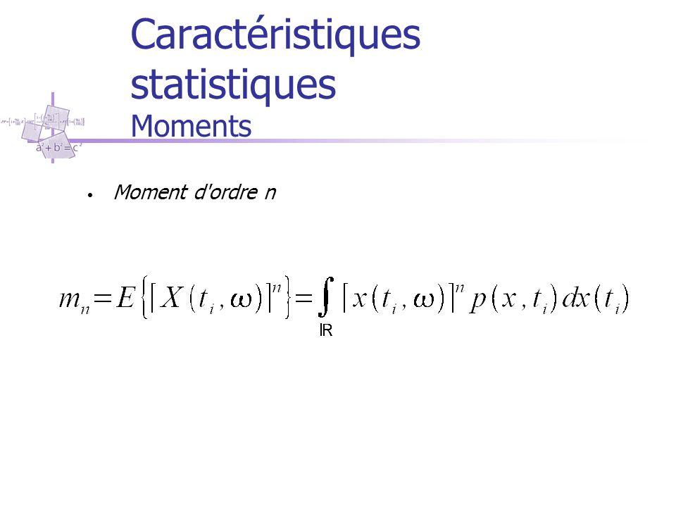 Caractéristiques statistiques Moments