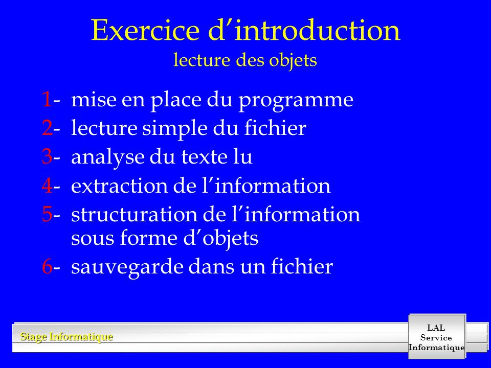 Exercice d'introduction lecture des objets