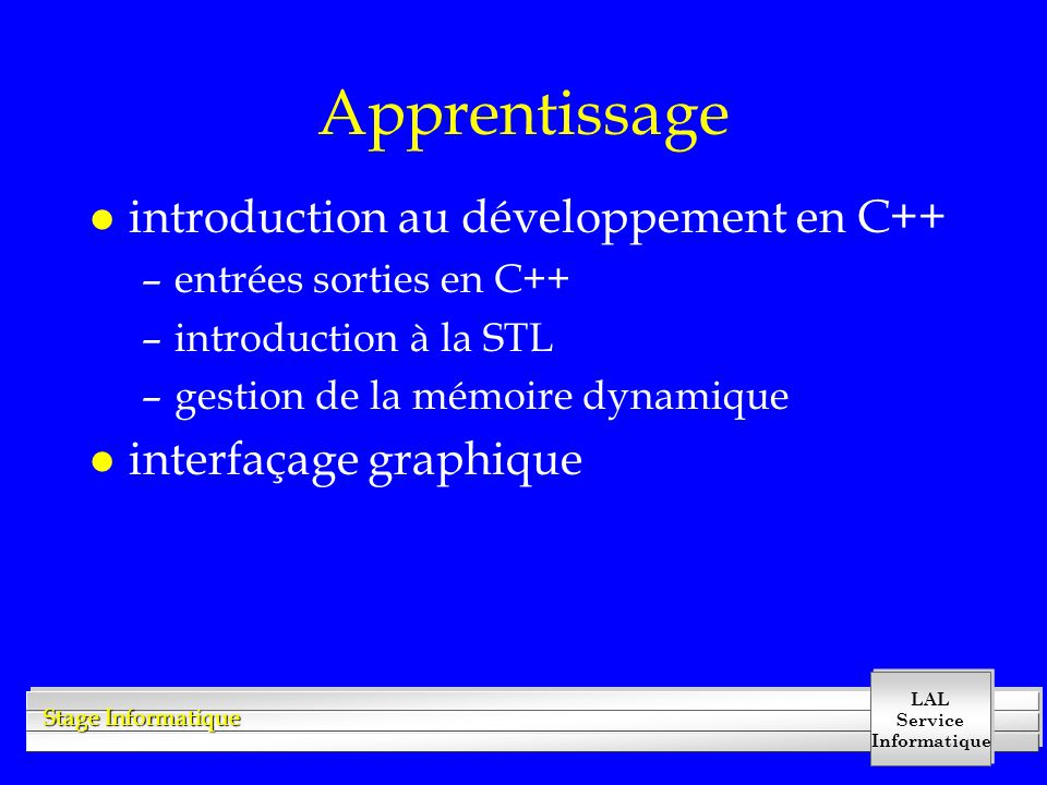 Apprentissage introduction au développement en C++