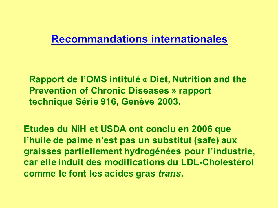 Recommandations internationales