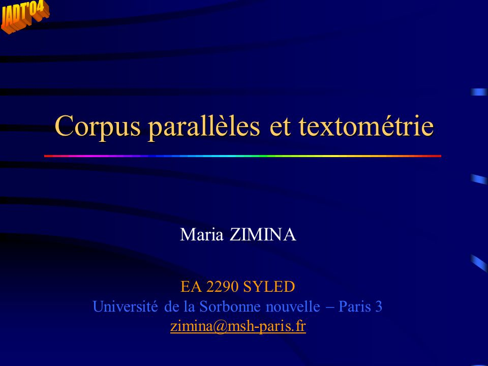 Corpus parallèles et textométrie