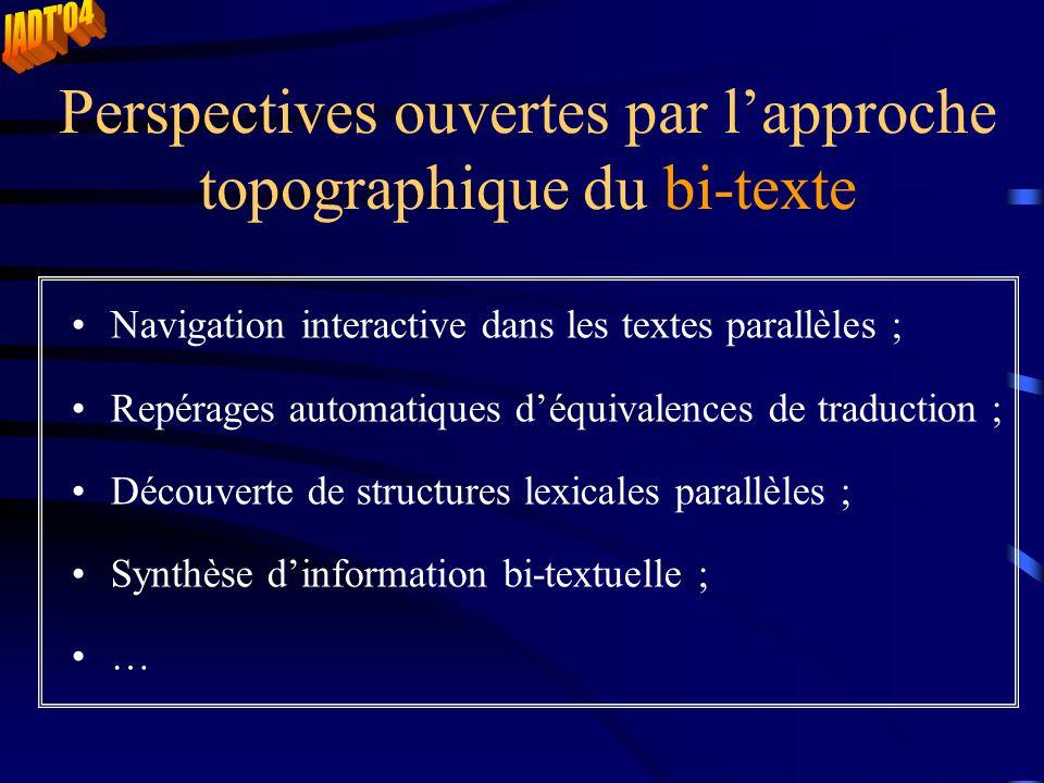 Perspectives ouvertes par l'approche topographique du bi-texte