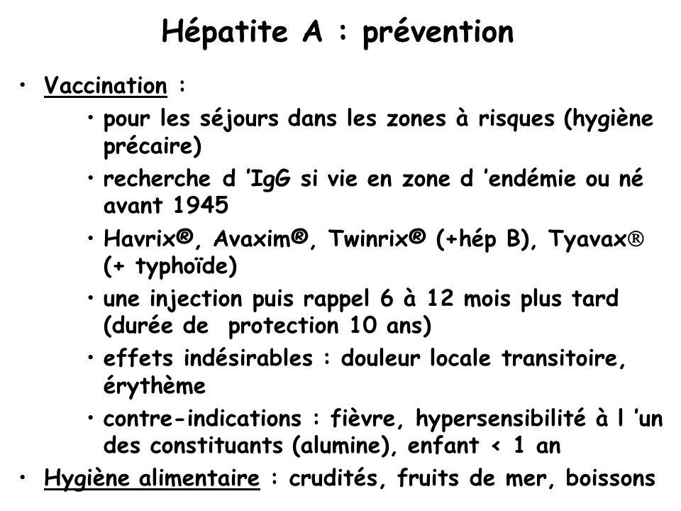 Hépatite A : prévention