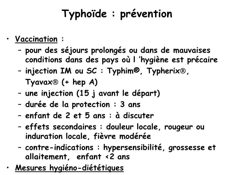 Typhoïde : prévention Vaccination :