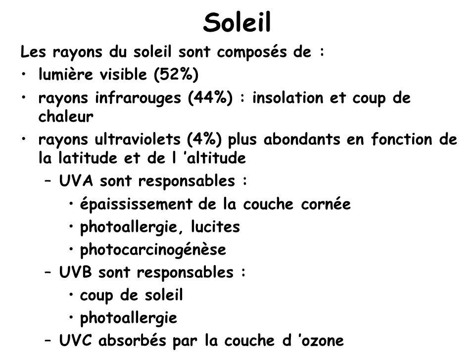 Soleil Les rayons du soleil sont composés de : lumière visible (52%)