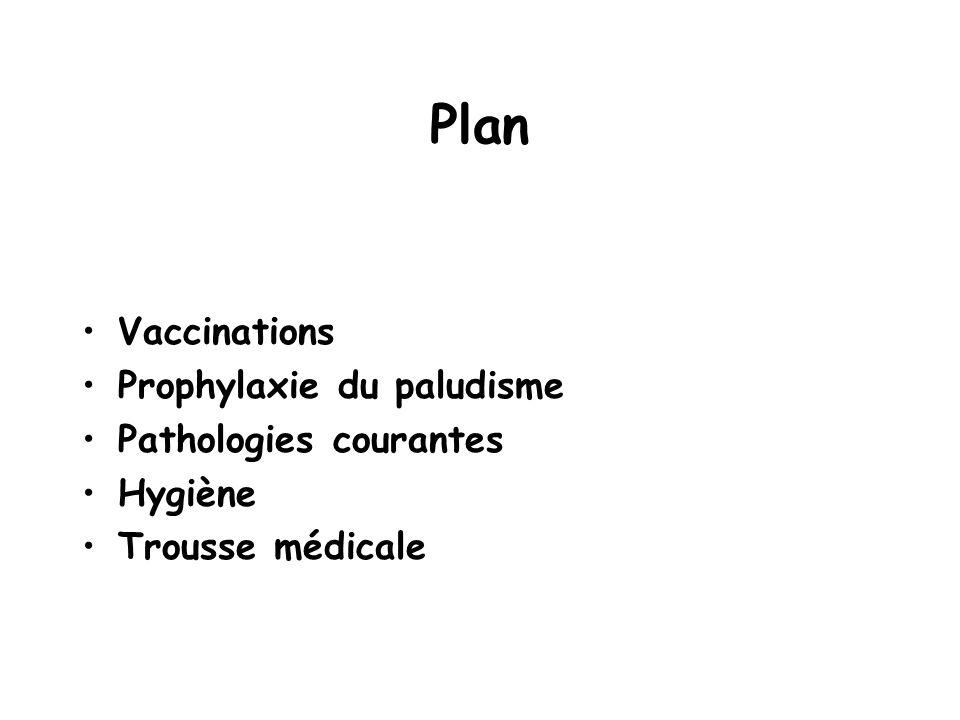 Plan Vaccinations Prophylaxie du paludisme Pathologies courantes